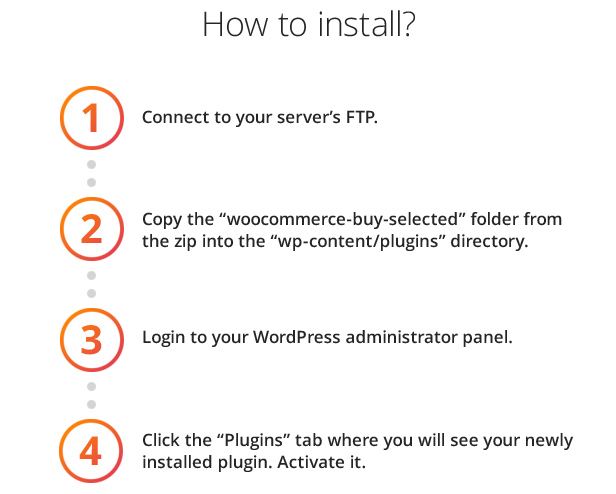 How Connect your FTP. Copy the folder from the zip into the directory. Login your WordPress administrator panel. Click the tab where you will see your newly installed plugin. Activate it.